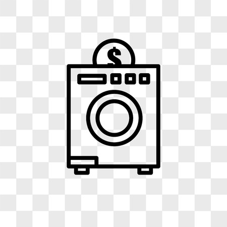 coin laundry vector icon isolated on transparent background, coin laundry logo concept Stock Illustratie