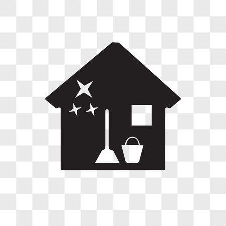 house cleaning vector icon isolated on transparent background, house cleaning logo concept Ilustração