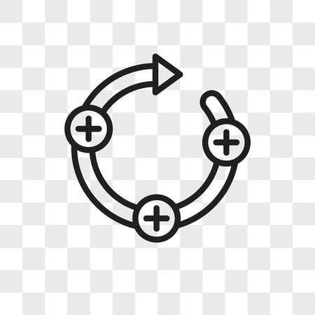 feedback loop vector icon isolated on transparent background, feedback loop logo concept Vettoriali