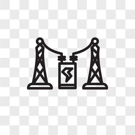 substation vector icon isolated on transparent background, substation logo concept Vectores