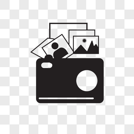photo gallery vector icon isolated on transparent background, photo gallery logo concept