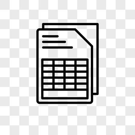 Documento con icono de vector de tablas aislado sobre fondo transparente, concepto de logo de documento con tablas