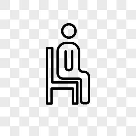 sitting down vector icon isolated on transparent background, sitting down logo concept