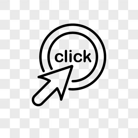 Haga clic en el icono de vector aislado sobre fondo transparente, haga clic en el concepto de logotipo