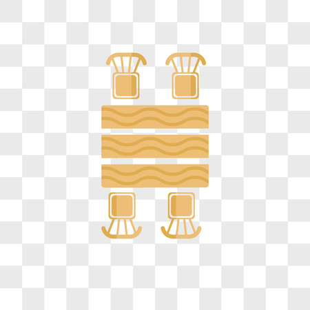 Picnic table vector icon isolated on transparent background, Picnic table logo concept