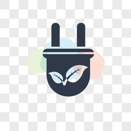 Eco Plug vector icon isolated on transparent background, Eco Plug logo concept