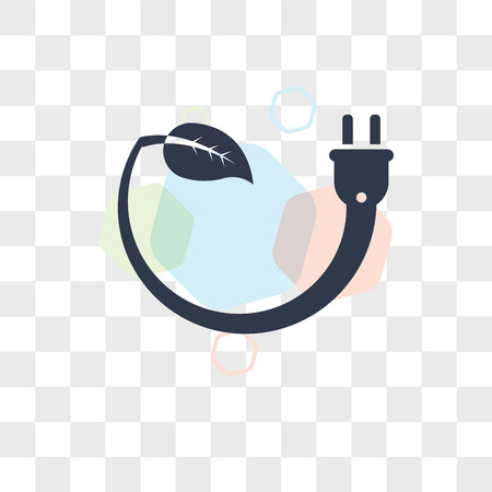 Eco Power vector icon isolated on transparent background, Eco Power logo concept Vectores