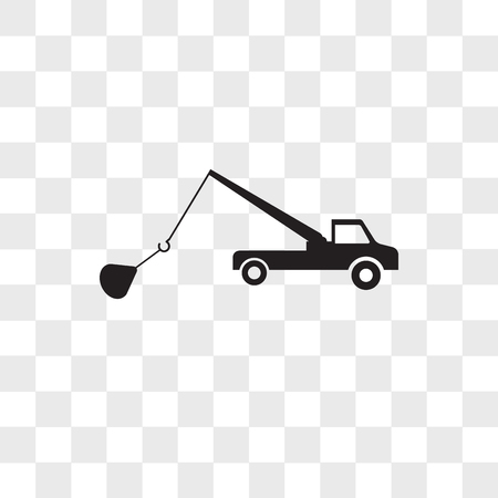 tow truck vector icon isolated on transparent background, tow truck logo concept Ilustracja