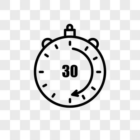 Icône de vecteur de 30 minutes isolé sur fond transparent, concept logo 30 minutes