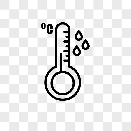 temperature sensor vector icon isolated on transparent background, temperature sensor logo concept