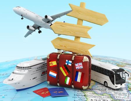 viagem: avião, mala de viagem, ônibus e navio, madeira cantar bordo e passaportes Imagens