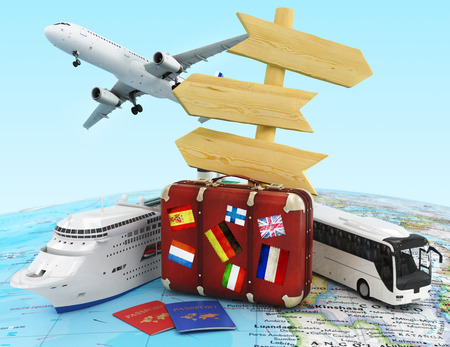 travel bag: plane, suitcase, bus and ship, wood sing board and passports