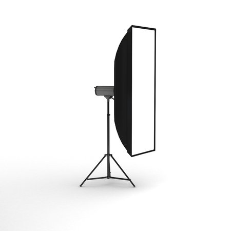 Studio flash with soft-box on white background, 3d photo