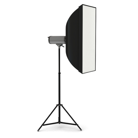 strobe light: Studio flash with soft-box on white background, 3d