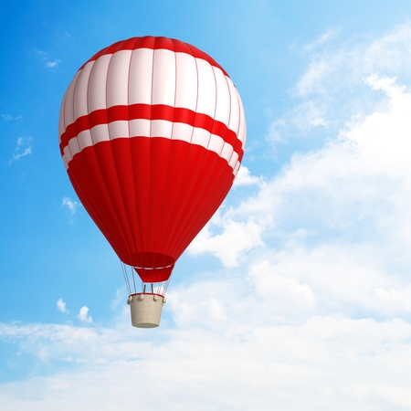 sporting activity: Hot air balloon sporting activity on a fresh blue day  Stock Photo