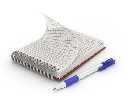 A pen and notebook, isolated in white  3d  photo