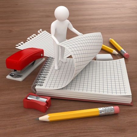 3d white man with a clipboard and office supplies photo