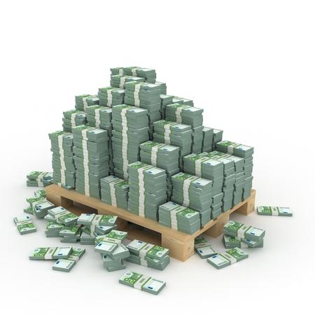 3d illustration of dollars stack over white background Stock Photo
