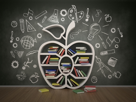 book shelf in form of apple and drawing concept, 3d photo