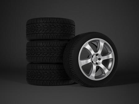 car tire with aluminum alloy wheel photo