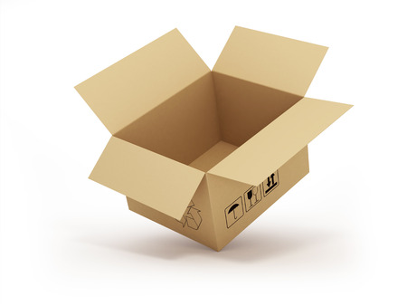 open empty cardboard box 3d illustration, isolated on white background Stock Photo