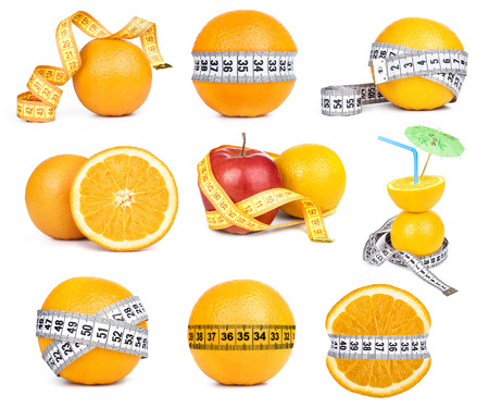 orange fruit and tape measure  photo