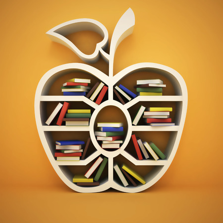 conocimiento: estante de libros en forma de manzana y el concepto de dibujo, 3d