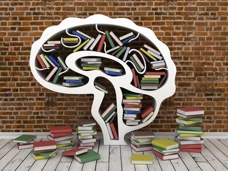 gray backgrounds: estante de libros en forma de cabeza sobre fondo gris