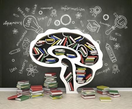 educating: estante de libros en forma de cabeza sobre fondo gris