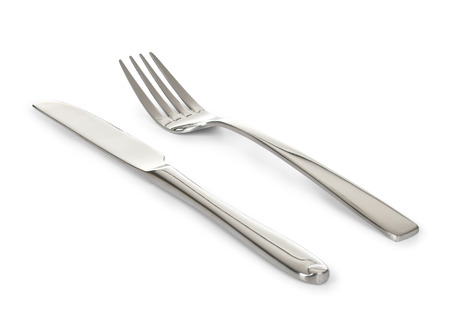 fork: Knife and fork isolated on white background Stock Photo