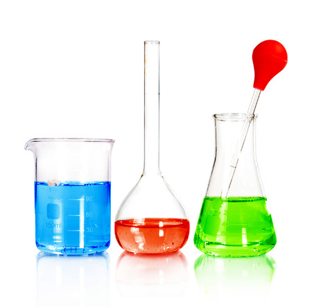 chemically:  laboratory test tubes Stock Photo