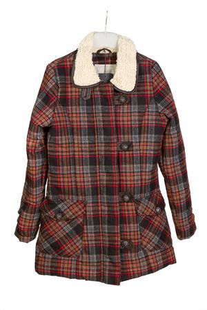 short sleeved: Men s short sleeved plaid cotton shirt on a hanger
