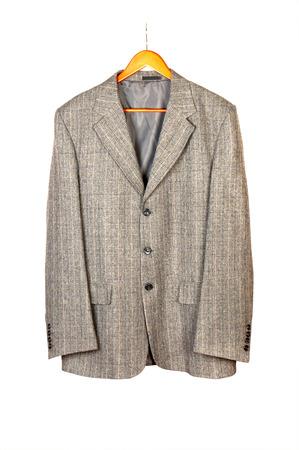 Men s short sleeved plaid cotton shirt on a hanger photo