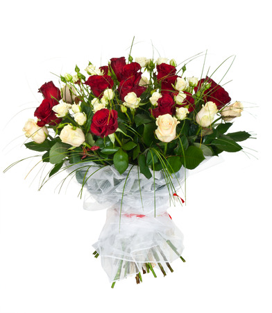 vase: bouquet of white and red roses isolated on white Stock Photo