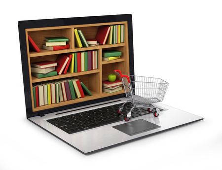 digital library: E-learning education or internet library. Conceptual image