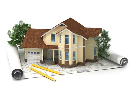construction plan with house and wood 3d photo