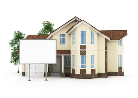 one stylized house with an empty signboard photo