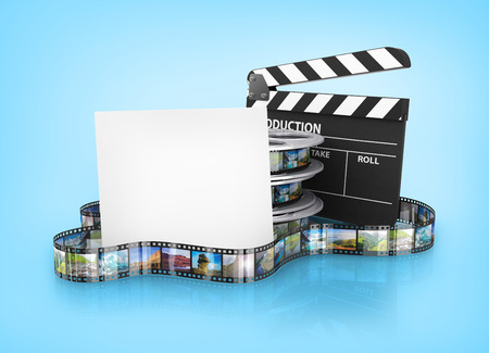 film editing: Film Reels and Clapper board and cardboard Stock Photo