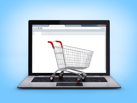 shopping cart: Laptop with small shopping cart Stock Photo
