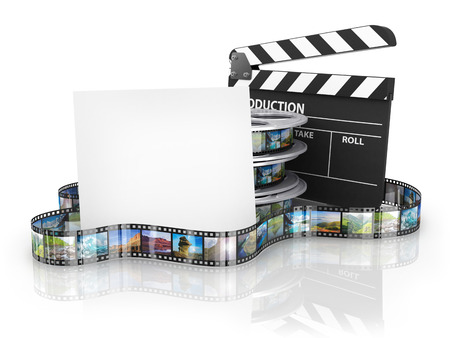 Film Reels and Clapper board and cardboard Stock Photo