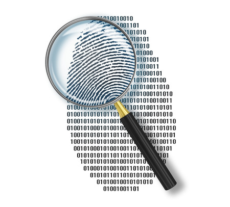 Magnifying glass over finger printlike shape made of binary code photo