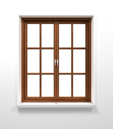 Houten venster op een witte achtergrond.