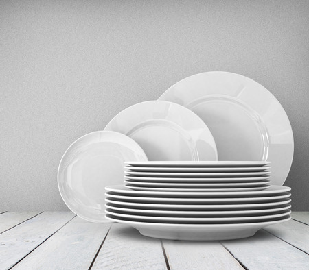 clean food: Empty clean plate on white table Stock Photo