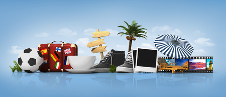 siesta: Holiday concept. Ball, suitcase, sign, photoframe. Stock Photo