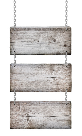 vintage wooden signs on white background isolated photo