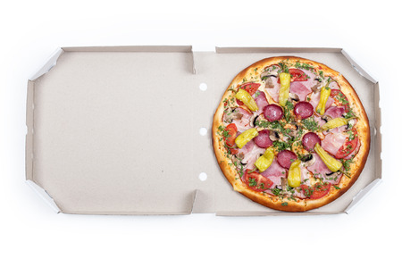 Tasty pizza with vegetables, isolated on whitec photo