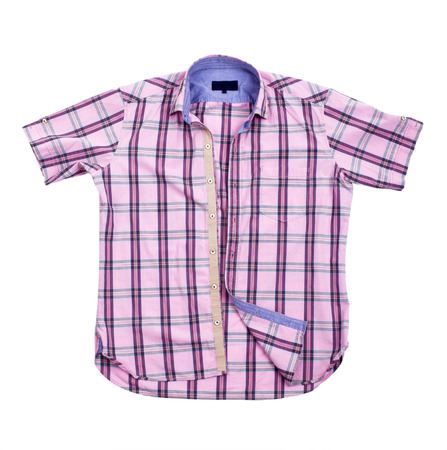 Children s wear - red checkered shirt isolated over white background