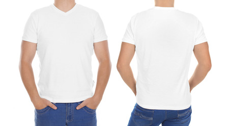 tshirt: White t-shirt on a young man isolated, front and back