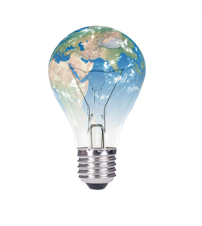 switched: Switched ON Lightbulb in the Shape of the World Isolated on White Background Stock Photo