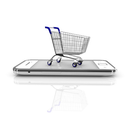 ecommerce: Smartphone purchase concept  Smartphone and a shopping cart on a white background